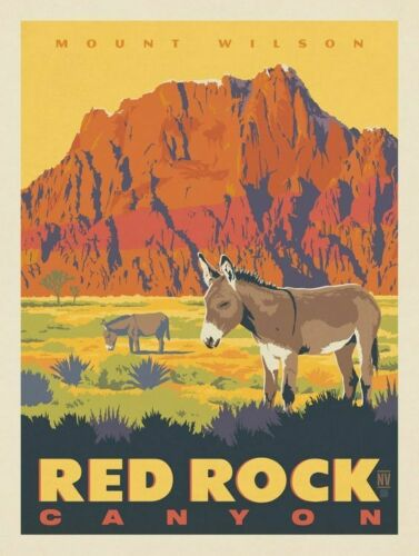"Mount Wilson Red Rock Canyon Vintage Retro Travel Photo Fridge Magnet 2/""x3/"""