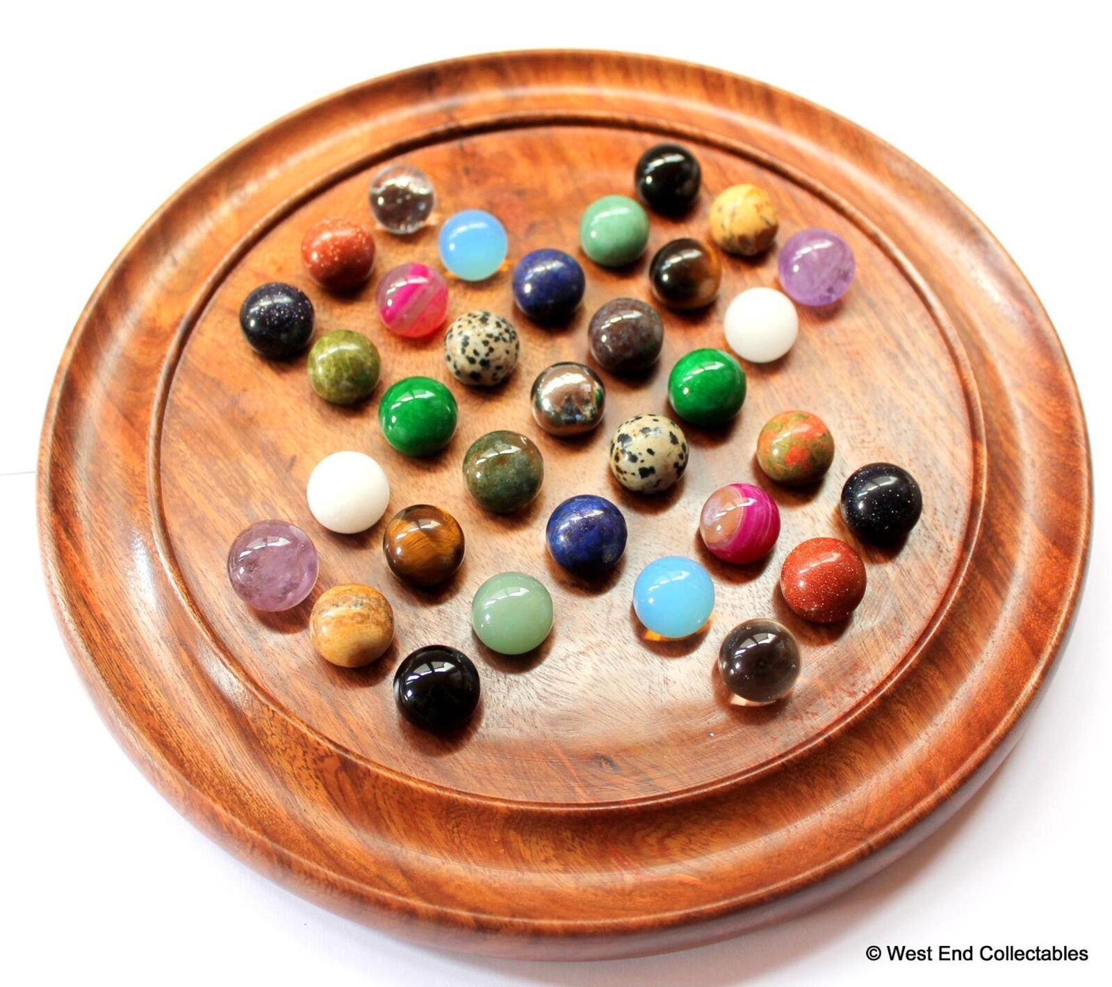Gemstone, Mineral & Metal Marbles Solitaire Game Set - 33 x 16mm Marble Chakra
