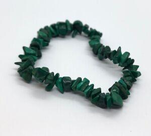 Vintage-Bracelet-Malachite-Stretch-Beads-Green-Chips