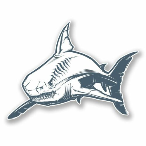 2 x Great White Shark Vinyl Sticker Laptop Travel Luggage Car #6085