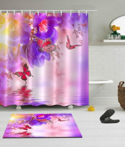 """72//79/""""Butterfly River--Bath Waterproof Fabric SHOWER CURTAIN/& MAT/&12HOOK 1916"""