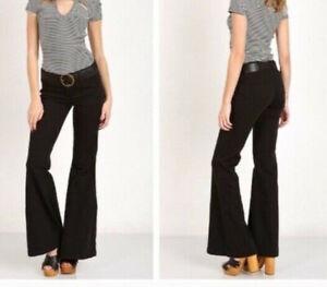 FREE-PEOPLE-W-26-NWT-Black-Denim-Stretch-Bell-Bottom-Flare-Jeans-Hippie-26X33