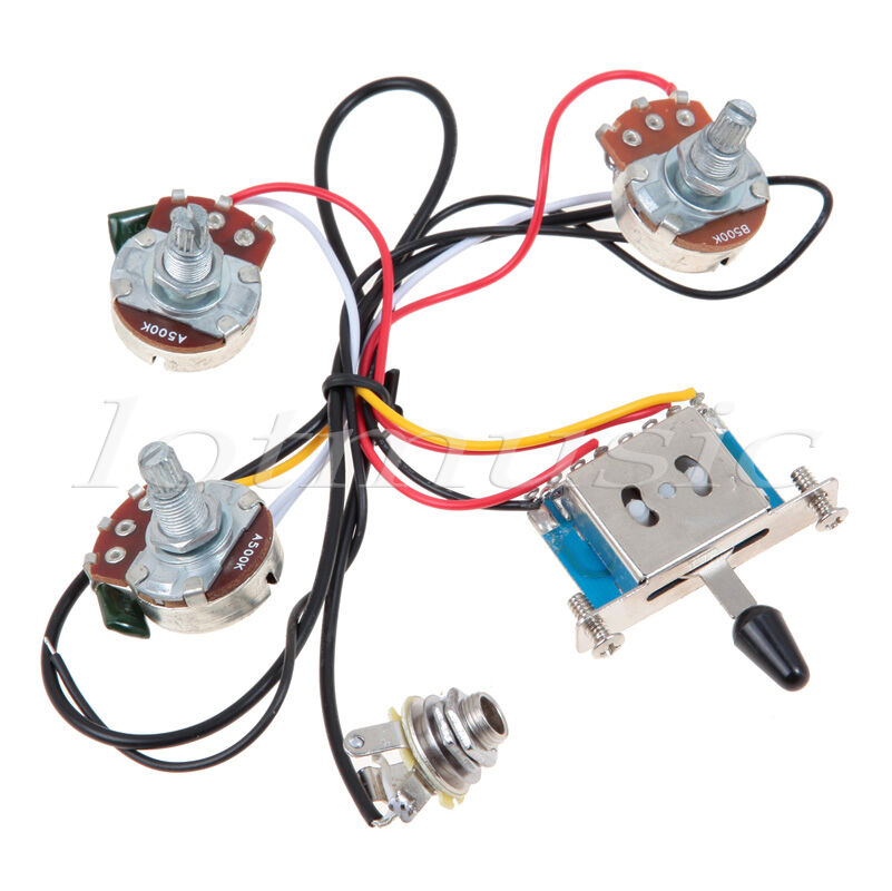 s l1600 left handed electric guitar wiring harness kit 5 way switch 1v2t Drop in Strat Wiring Harness at alyssarenee.co