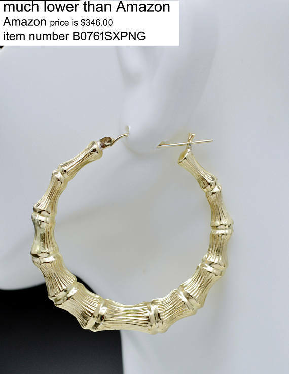 REAL 10K Yellow gold 2   52mm Large Graduated Bamboo Hoop Earrings 6.4 gr