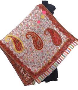 Maroon-Beige-100-Wool-Hand-Cut-Kani-Shawl-Jamavar-India-Pashmina-Ari-Embriodery