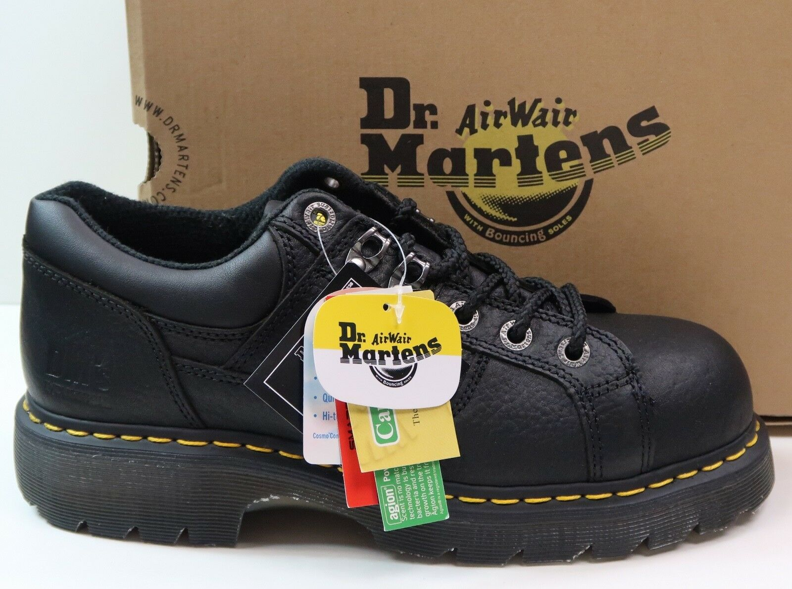 Dr. Martens Gunby ST Steel Toe Heritage Industrial Work Black shoes Brand New