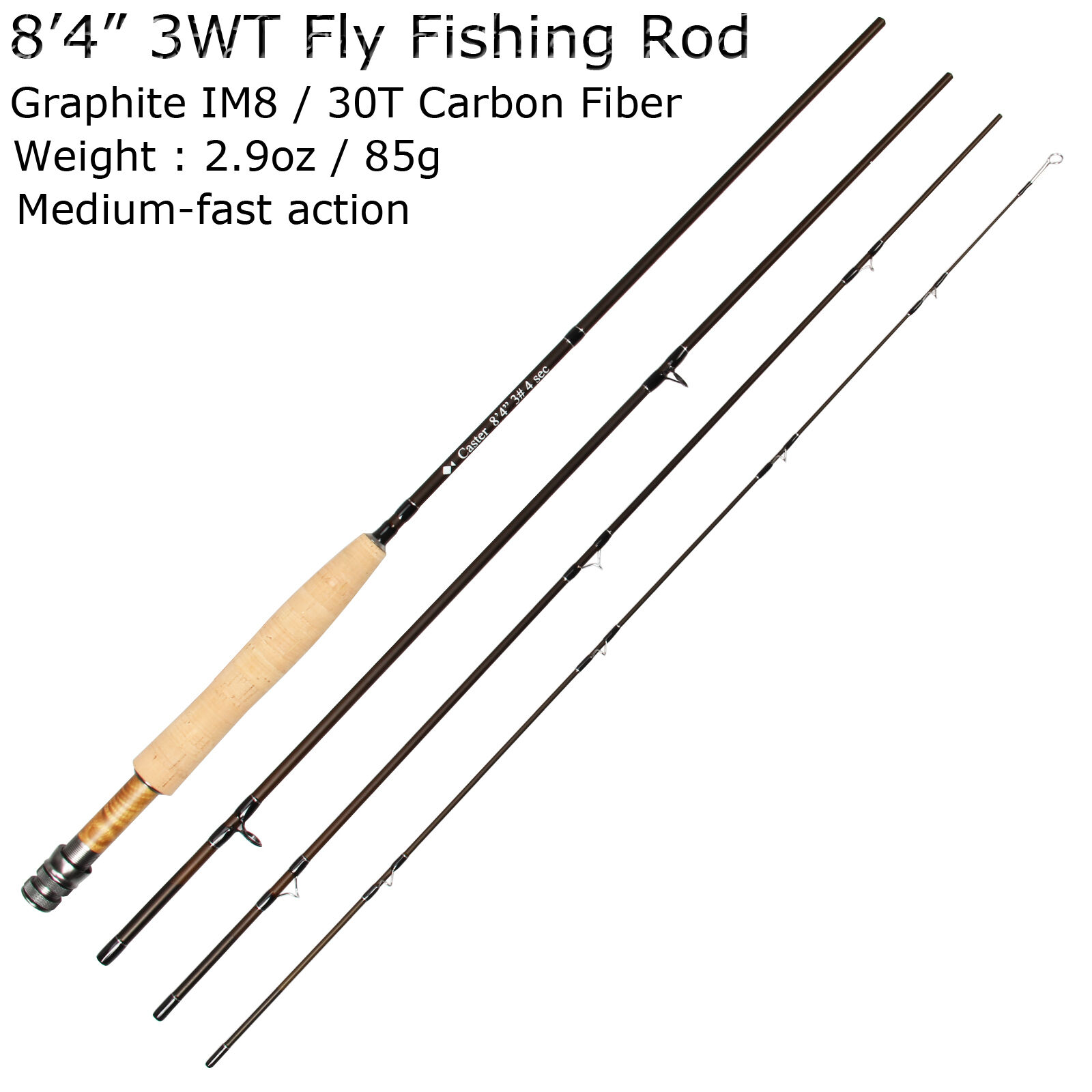 3/5/8WT Fly Rod 9FT Medium-fast Action Carbon Fiber ( ( ( IM8 )  Fly Fishing Rod d231b5