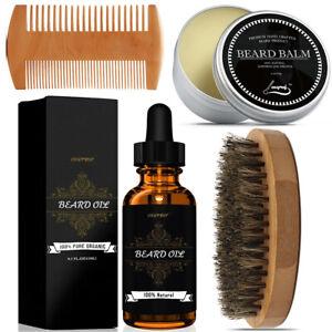 New-Beard-Care-Grooming-Kit-Beard-Growth-Oil-amp-Balm-amp-Comb-amp-Brush-Gift-for-Men