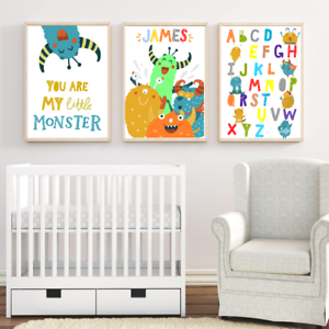 Details About Personalised Name Nursery Art Print Set Cute Monster Baby Boy Room Modern Decor