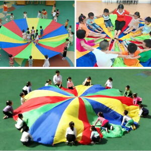 Parachute-Outdoor-Game-Exercise-Sport-8-Handles-Kids-Play-Colorful-Parachute-USA