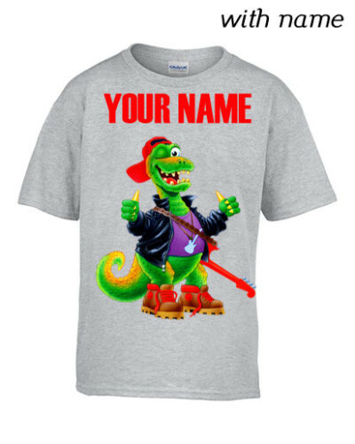 Personalized Kids T-Shirt DTG ROCK/'N/'ROLL DINO YOUR NAME