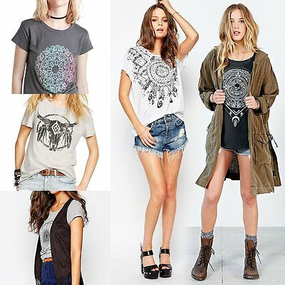 Summer Womens Short Sleeve Casual Shirt Rock Punk Totem Graphic Loose Top Blouse
