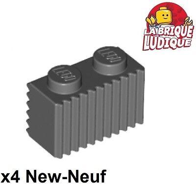 Lego - 4x Mattoncini Brick Modified 1x2 Griglia Grill Grigio F/dark B Gray 2877