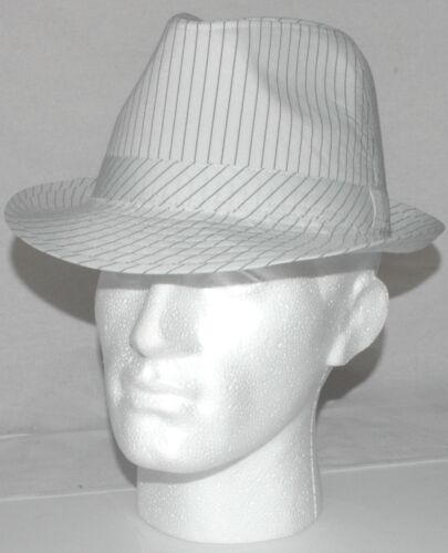 UNISEX FEDORA TRILBY GANGSTER HAT White Pin Stripe  57cm 58cm 59cm A003.68