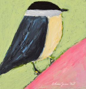 Nuthatch Bird Miniature Animal Art Bird Painting Katie Jeanne Wood