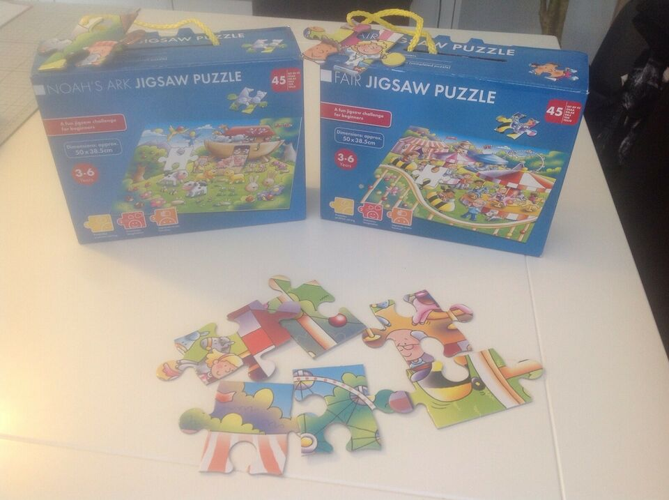 2 x Puzzlespil a 45 br., Puzzlespil, puslespil