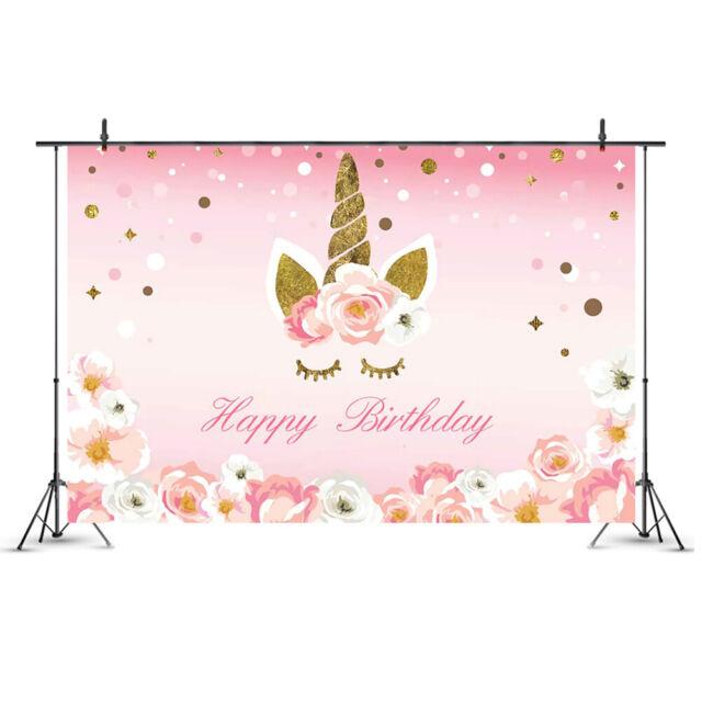 90*150cm Cartoon Unicorn Background Birthday Party Banner Sweet Flowers Backdrop