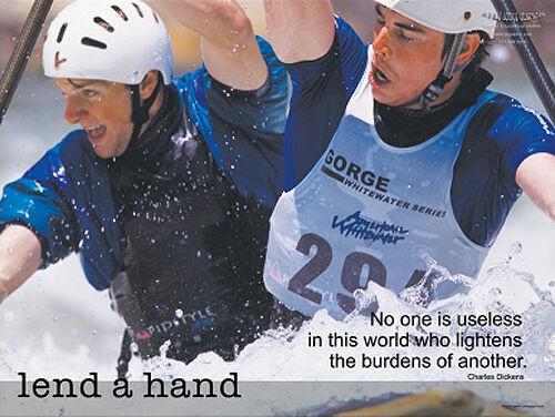 Whitewater Rafting LEND A HAND Teamwork Inspirational Motivational POSTER Print
