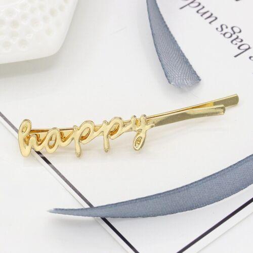 Elegant Woman Crystal Love Letter Headdress Barrette Bobby Stick Hairpin Jewelry