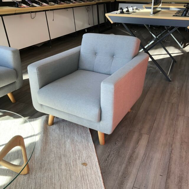 Light grey individual lounge chairs with wooden legs x 2 RRP $599