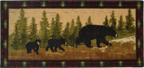 "2x4 20/"" x 44/"" Lodge Cabin Bear Cubs Pine Area Rug"