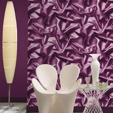MURIVA GATHERED SATIN SILK EFFECT WALLPAPER PURPLE - F72906 NEW DESIGNER