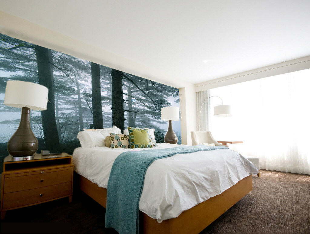 3D Misty Pine Tree 553 Wall Paper Wall Print Decal Wall Deco Indoor Mural Summer