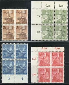 Germany 1943 MNH Mi 850-853 Sc B237-B240 Reich Labor Service Corpsmen ** Block