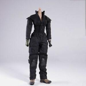 1-6-Female-Black-Tactical-Combat-Uniform-Clothes-Fit-12-034-Action-Figure-Body-Toys
