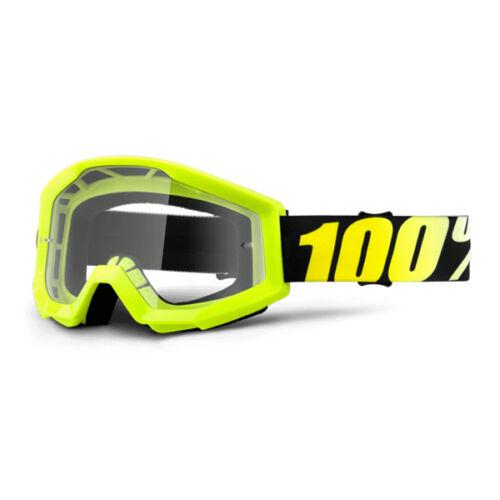 2019 100/% STRATA MOTOCROSS MX BIKE MTB GOGGLES NEON YELLOW CLEAR or MIRROR LENS