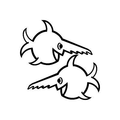 2 Aufkleber 18cm weiß Auto Tattoo Folie U96 Fisch Sägezahnfisch Schwertfisch
