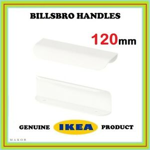 IKEA-BILLSBRO-120mm-x2-replaces-BLANKETT-door-handles-knobs-in-white-PAX-BESTA