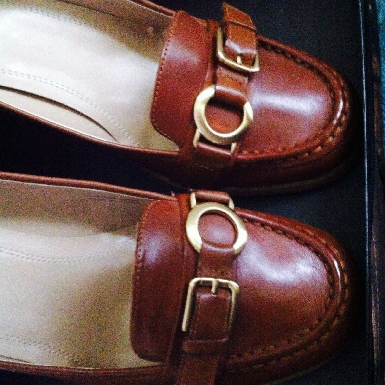 NEW Wmns Größe 11 ELLEN Block TRACY Genuine Leder Schuhes Block ELLEN Heel Pump COGNAC BROWN e00760