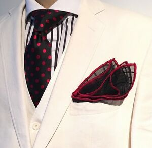 Pocket Square Black Georgette With Red Stitched Borders Made By Squaretrapny.com