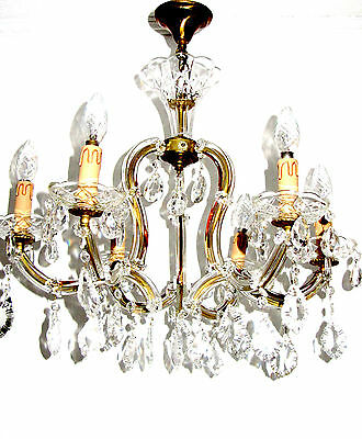 Antik  Messing-Glas-Kristall Maria Theresia Kronleuchter, Lüster 6 Flammig