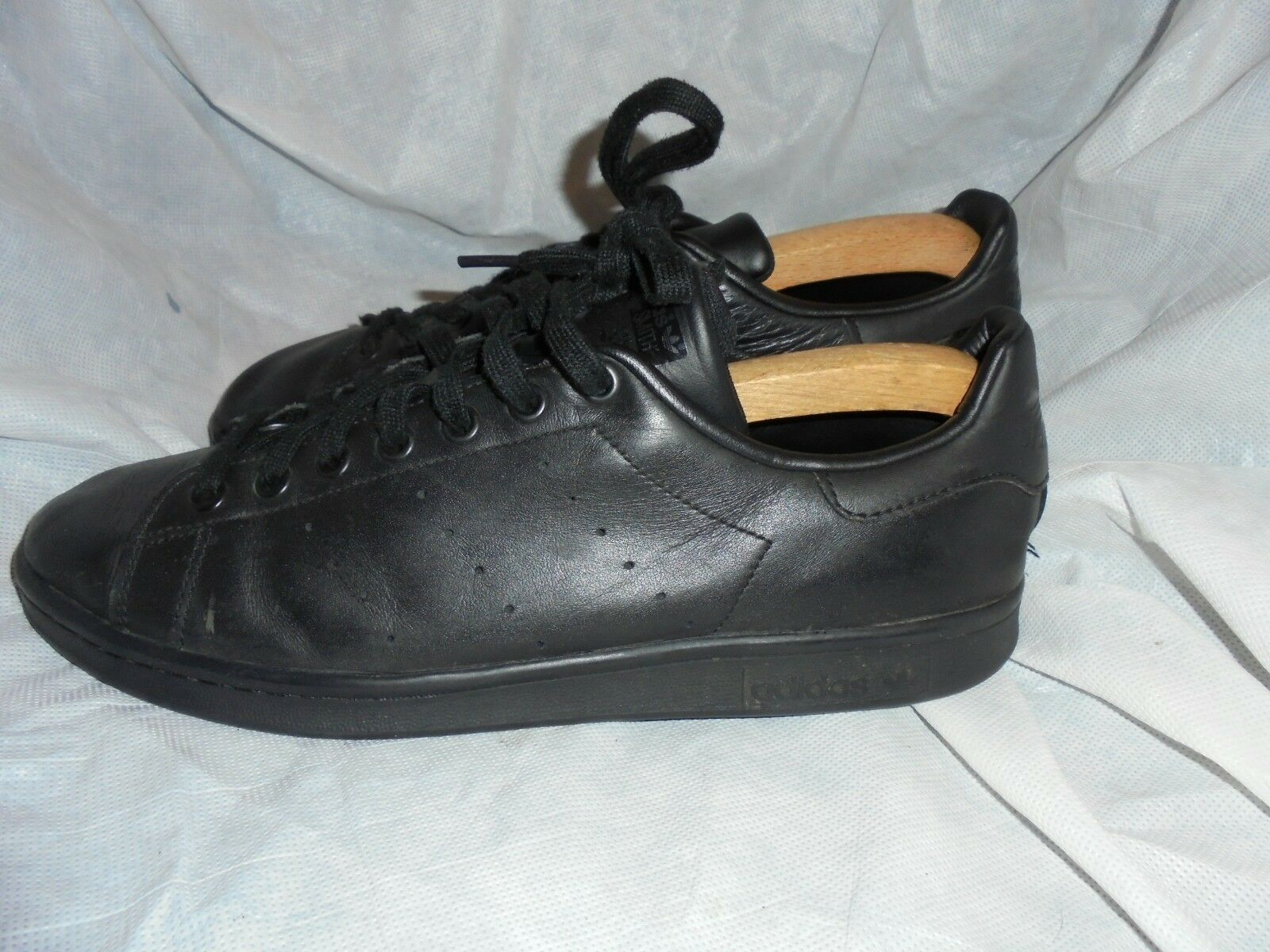 ADIDAS STAN SMITH MEN BLACK LEATHER LACE UP TRAINERS SIZE UK 10 EU 44.5 VGC