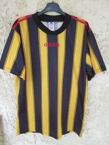 Maillot ADIDAS vintage années 90 made in England shirt jaune noir rayures trikot