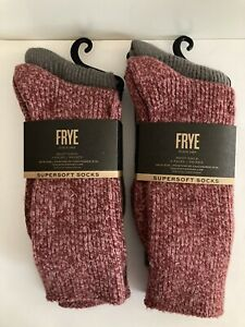 FRYE Supersoft Striped Marled Boot Socks 2 Pair Women Grey Black Size 5-10 NWT