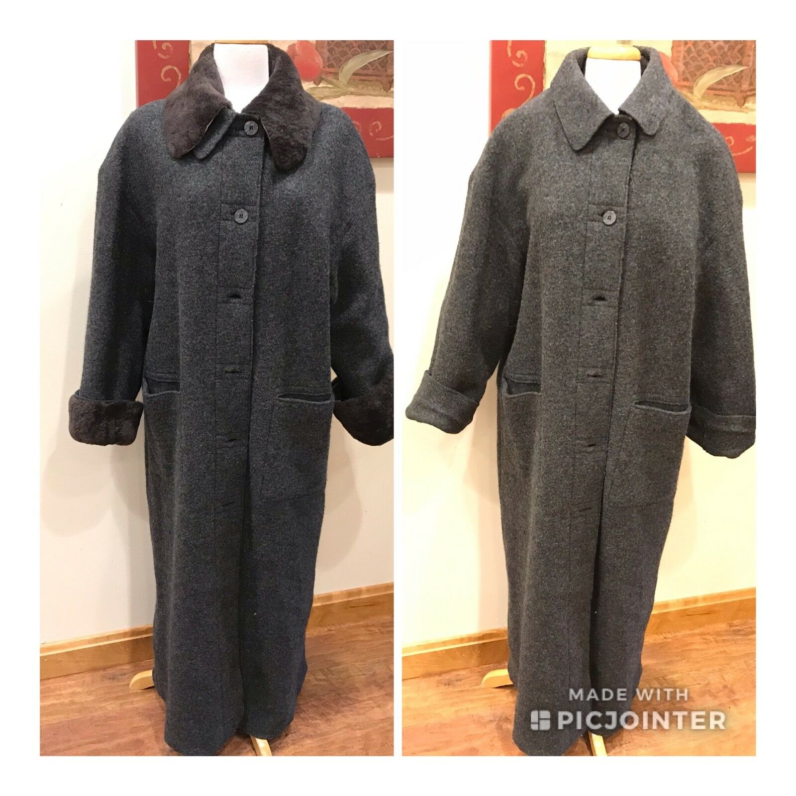 New Hilary Radley Pure Virgin Wool Sweater Coat Faux Fur Collar Removable Liner
