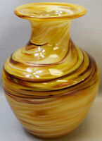 11 Hand Blown Glass Art Vase Tan Swirl Decorative Handmade