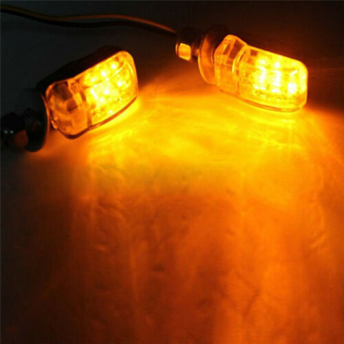 2X 6LED Motorcycle Mini Amber Turn Signal Lights Blinkers Indicators Black GX