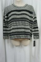 French Connection Sweater Sz L Black White Sequined Knit Mix Scooped Chunky