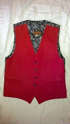 Fornito Red Woolen Gilet Rusty London Gilet Paisley 38 Sul Petto-mostra Il Titolo Originale Una Gamma Completa Di Specifiche