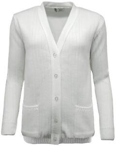 Côtelé Uni Bols Premium 4 Idéal Cardigan Femmes Blanc vCqn1