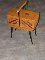 Vintage Knitting Sewing Box wooden wood Design Storage Cantilever Case Craft old