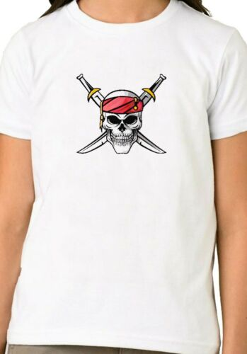 Pirate skull and Swords Unisex Boys Girls Holiday Birthday Gift Top T shirt 167