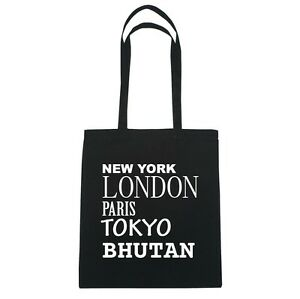 New-York-LONDON-PARIS-TOKYO-BUTAN-Bolsa-de-yute-Color-Negro