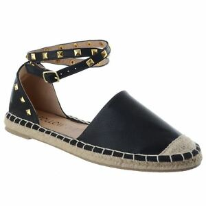 046fb38caf7 Details about LADIES WOMENS FLAT LOW HEEL STUDDED ESPADRILLES ANKLE STRAP  SUMMER SANDALS SIZE