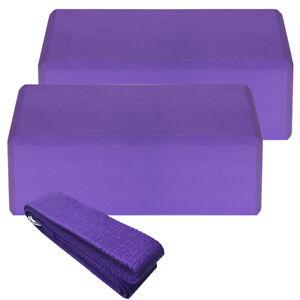 2pcs EVA Yoga Blocks 1pcs Cotton Yoga Strap Stability Blocks Set K0M4