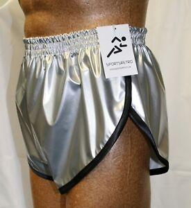 Black White Retro PVC Sprinter Shorts S to 4XL